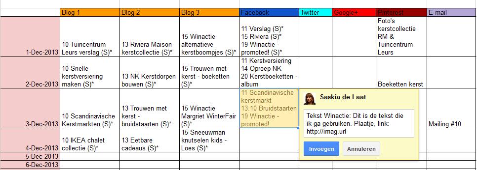 Voorbeeld contentkalender - contentplanning