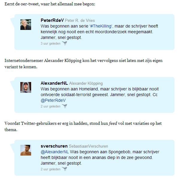 Screenshot van artikel op NRC.nl. Hilarische reacties op tweet Peter R. de Vries