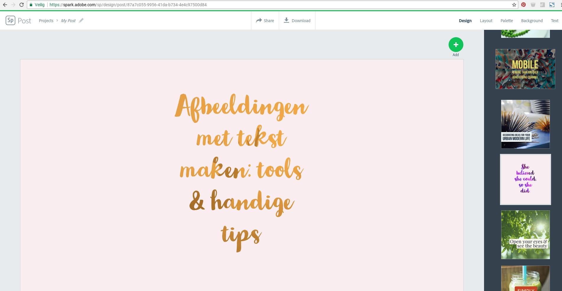 Plaatjes met tekst maken met Adobe Spark