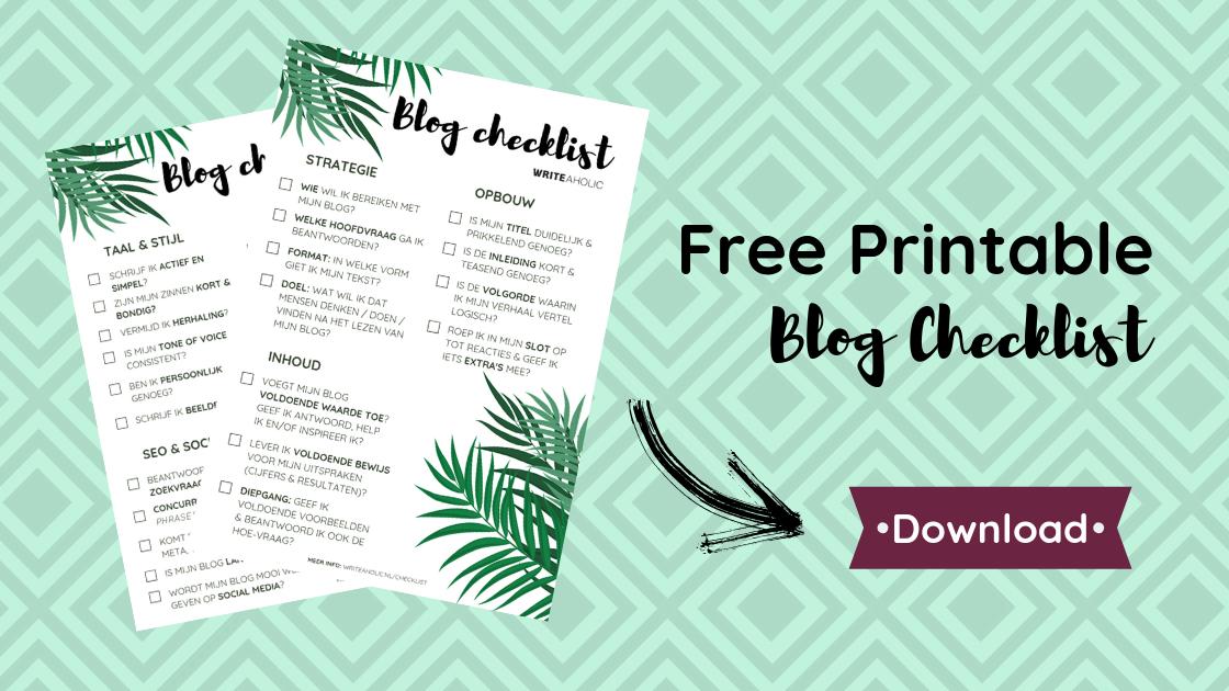 Hoe schrijf je een goede blog - download checklist